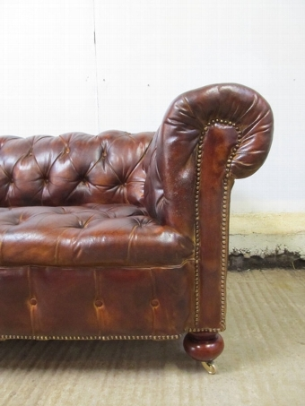 Antique Antique Large Victorian Brown Leather Chesterfield Sofa c1880