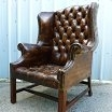 Antique Antique Pair Georgian Style Leather Chesterfield Armchairs c1930