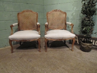 Antique Pair French Louis XV1 Walnut Bergere Armchairs c1920 w7108/8.10
