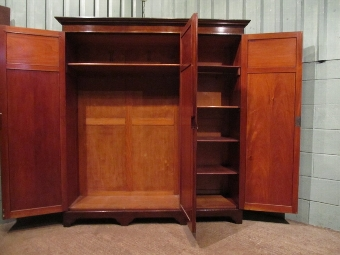 Antique ANTIQUE EDWARDIAN WALNUT TRIPLE WARDROBE W7188/5.11