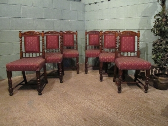 Antique ANTIQUE SET SIX VICTORIAN OAK DINING CHAIRS W7192/12.11