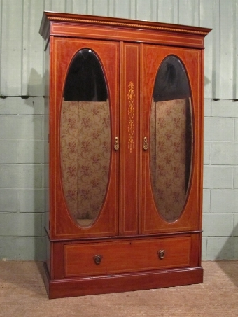 Antique ANTIQUE EDWARDIAN INLAID MAHOGANY DOUBLE WARDROBE W7151/26.11