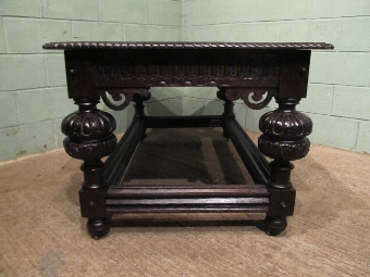 Antique ANTIQUE VICTORIAN HEAVY GOTHIC OAK DINING LIBRARY TABLE W7023/26.11