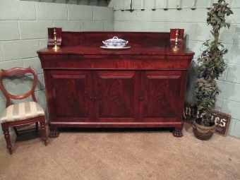 Antique ANTIQUE WILLIAM 1V LARGE FLAMED MAHOGANY SIDEBOARD C1830 W7250/7.1