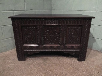 Antique ANTIQUE 17TH CENTURY CARVED OAK COFFER BOX W7256/7.1