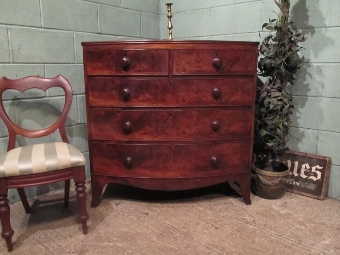 Antique ANTIQUE REGENCY MAHOGANY BOW FRONT CHEST OF DRAWERS C1820 W7179/21.1