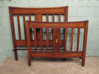 Antique ANTIQUE EDWARDIAN MAHOGANY INLAID DOUBLE BED C1900 W7311/18.2