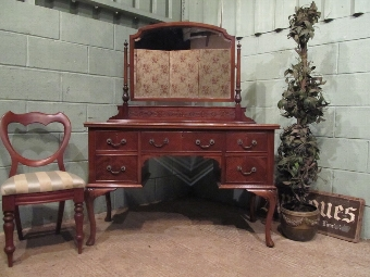 Antique ANTIQUE EDWARDIAN MAHOGANY CHIPPENDALE DRESSING TABLE C1900 W7328/25.2
