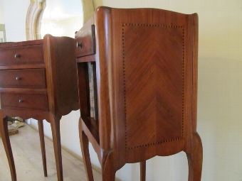 Antique ANTIQUE FRENCH PAIR MAHOGANY PARQUETRY BEDSIDE CHESTS BY HUGNET PARIS WJ10/1.4