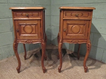Antique ANTIQUE PAIR FRENCH 19TH CENTURY OAK BEDSIDE CABINETS W7434/8.4