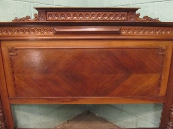 Antique ANTIQUE FRENCH WALNUT PARQUETRY 5FT BED HENRI 11 W7054/3.6