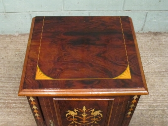 Antique ANTIQUE EDWARDIAN ROSEWOOD HIGHLY INLAID BEDSIDE CABINET WCOMJC/12.8