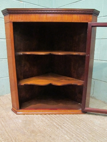 Antique Antique Regency Satinwood Glazed Hanging Corner Cabinet w7534/26.8