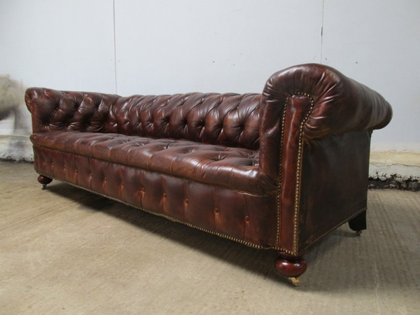 Antique Large Victorian Brown Leather Chesterfield Sofa c1880
