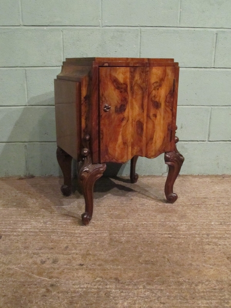 Antique Antique Pair Italian Burr Walnut Bedside Cabinets