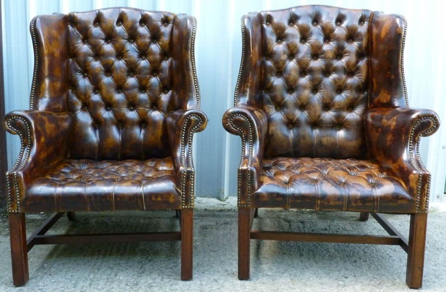 Antique Pair Georgian Style Leather Chesterfield Armchairs c1930