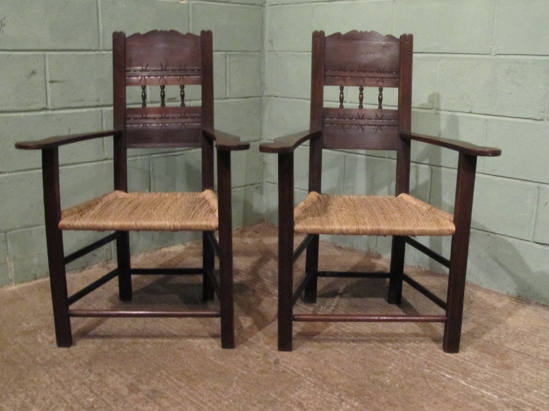 Antique Antique Set Arts & Crafts Country Oak Dining Chairs w6250/7.2