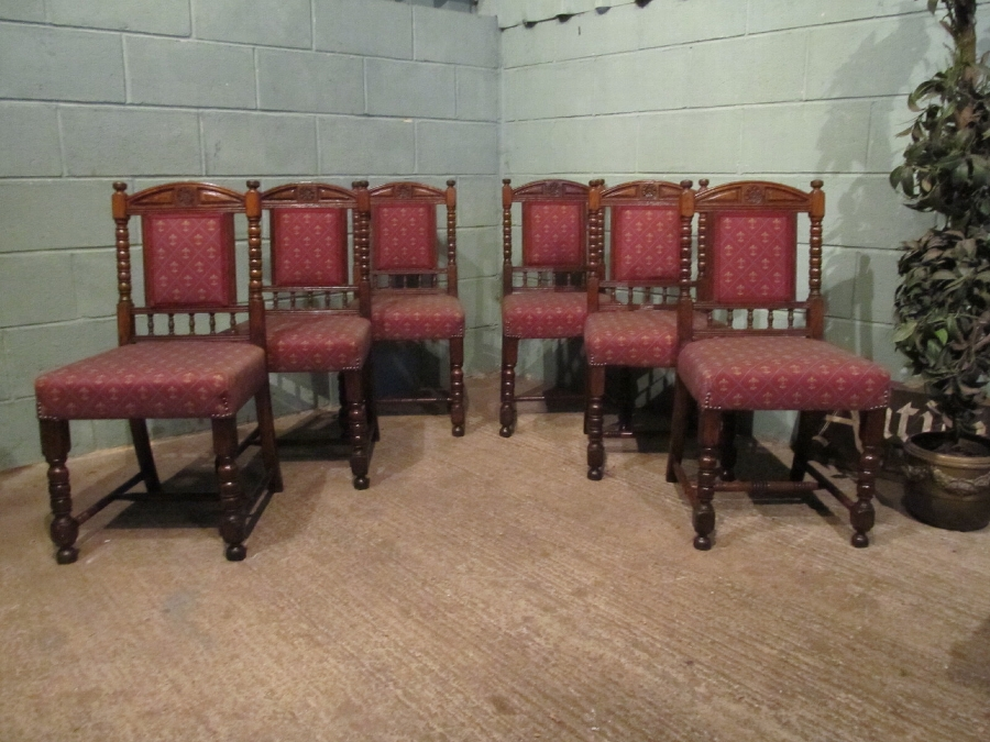 ANTIQUE SET SIX VICTORIAN OAK DINING CHAIRS W7192/12.11