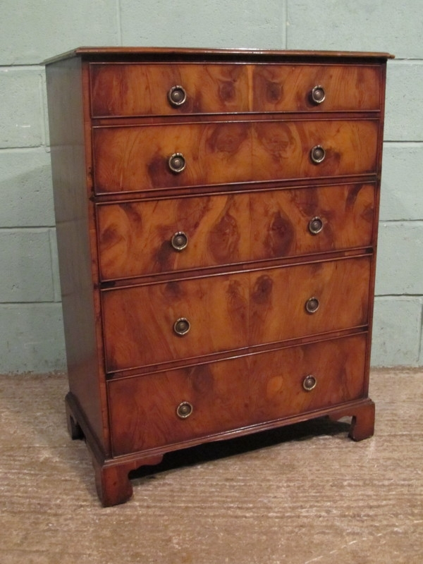 Antique ANTIQUE SMALL YEW WOOD CHEST OF DRAWERS C1920 W7236/7.1