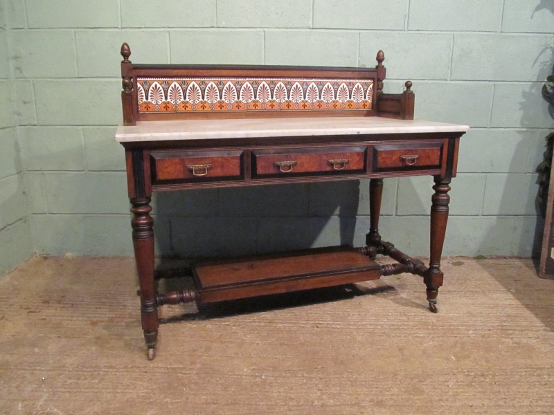 ANTIQUE VICTORIAN OAK & EBONY MARBLE WASHSTAND C1890 W7285/11.2