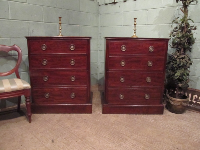 ANTIQUE PAIR REGENCY MAHOGANY CABINETS (FALSE DRAWERS FRONTS) C1810 W7316/25.2