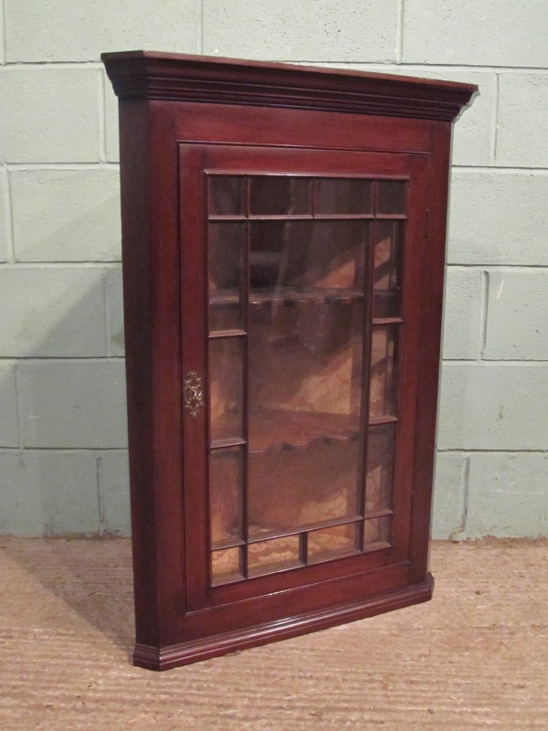 ANTIQUE REGENCY MAHOGANY WALL CORNER CABINET C1820 W7320/25.2