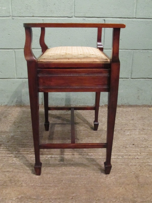 Antique Antique Edwardian Inlaid Mahogany Piano Stool w7322/25.2