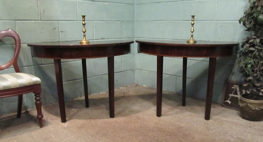 Antique Pair Georgian Regency Mahogany Demi Lune Side Tables w7344/17.6