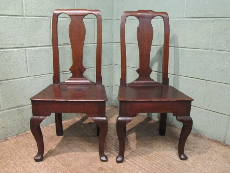 Antique ANTIQUE PAIR EARLY 18TH CENTURY GEORGIAN COUNTRY OAK CHAIRS C1720 W7507/22.7