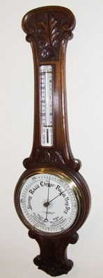 Antique Carved Oak Banjo Aneroid Barometer : A J WARES LTD S. SHIELDS (a46)