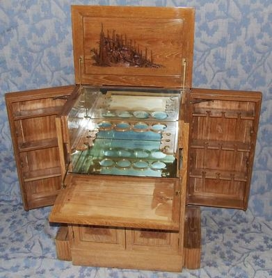 Antique Antique Carved Chinese Camphor wood Drinks / Cocktail Cabinet : Fitted Interior