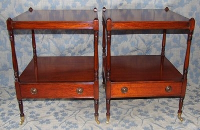 Antique PAIR Mahogany Side Occasional Tables / Lamp Stands / Bedside Cabinets