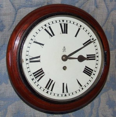 Antique AUTHENTIC Mahogany GPO Post Office Chain Fusee Wall Clock with 10 INCH Dial