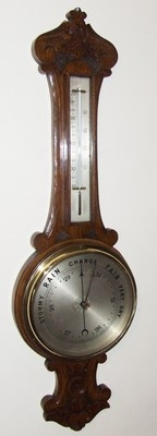 Superb Antique Oak Aneroid Banjo Barometer & Thermometer : Silvered Dials (a49)
