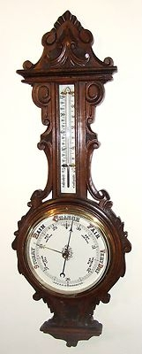 Antique Carved Oak Banjo Aneroid Barometer & Thermometer : China Dials (a58)