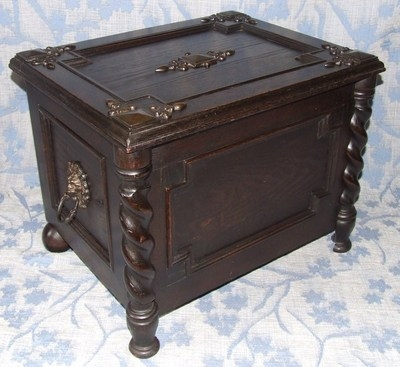 Antique Antique Oak Coal / Log Box & Liner Lamp Stand Table with Storage Magazine Rack