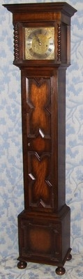Antique Antique Oak Grandmother / Miniature Grandfather Clock : Weight Driven Movement