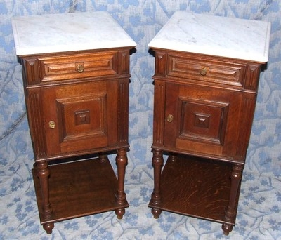 Antique PAIR French Antique Oak Bedside Cabinets / Pot Cupboards / Lamp Stands c1860/80
