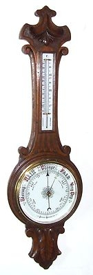Antique Carved Oak Banjo Aneroid Barometer & Thermometer (a60)