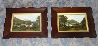 Antique PAIR Antique Framed Oil Paintings RYDAL WATER & WINDERMERE LAKE : J H Perks 1884