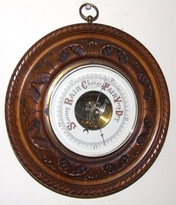 Wonderful Antique Carved Walnut Barometer with Open China Dial (a44)