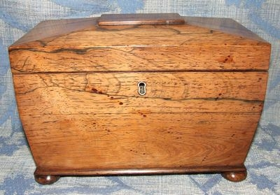 Antique Superb Antique Regency ROSEWOOD Tea Caddy / Box with 2 Compartments circa 1800