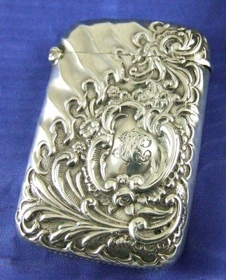Antique Antique Art Nouveau HALLMARKED BIRMINGHAM Silver Vesta Case Minshull & Latimer