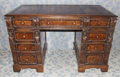 Antique Antique Victorian Carved Walnut & Oak Twin Pedestal Desk by MAPLE (21)