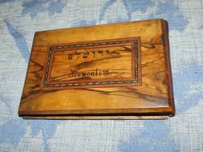 Antique Olive Wood Book Pressed Flower Souvenir from Jerusalem
