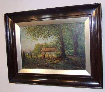Antique 1913 Oil Painting Country Cottage Scene by A. Buckley