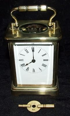 Antique Superb Brass Carriage Clock with Key : Working