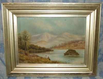 Antique Antique Oil Painting Country Fishing Scene signed CW