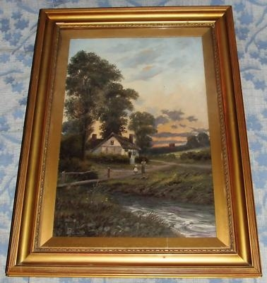 Antique Antique Oil Painting Country Cottage Scene: C W OSWALD