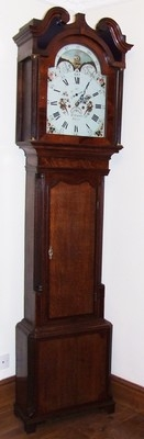 Antique Antique Rolling Moon Oak & Mahogany Longcase Grandfather Clock R. PARR PRESCOT